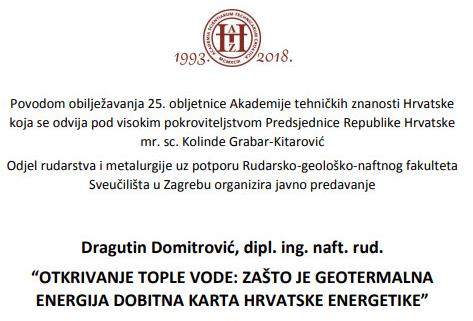 Poziv na predavanje Dragutina Domitrovića, dipl. ing.