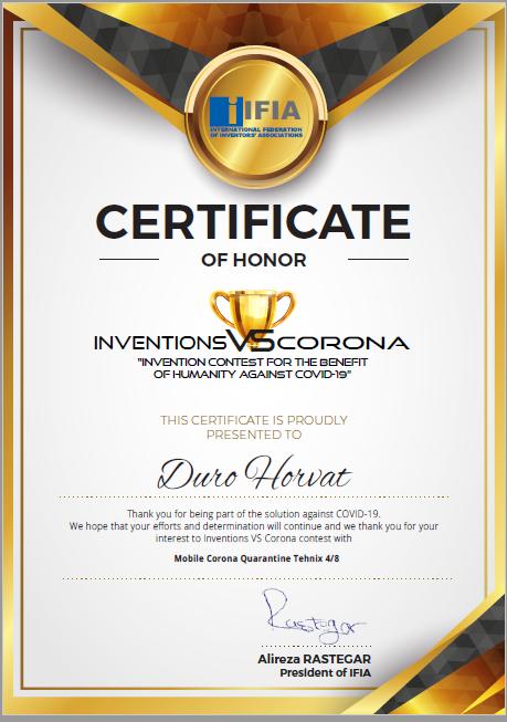 "Tvrtki TEHNIX d.o.o. dodijeljene prestižne nagrade za inovacije: ""Zlatni certifikat"" i ""Potvrda časti"""