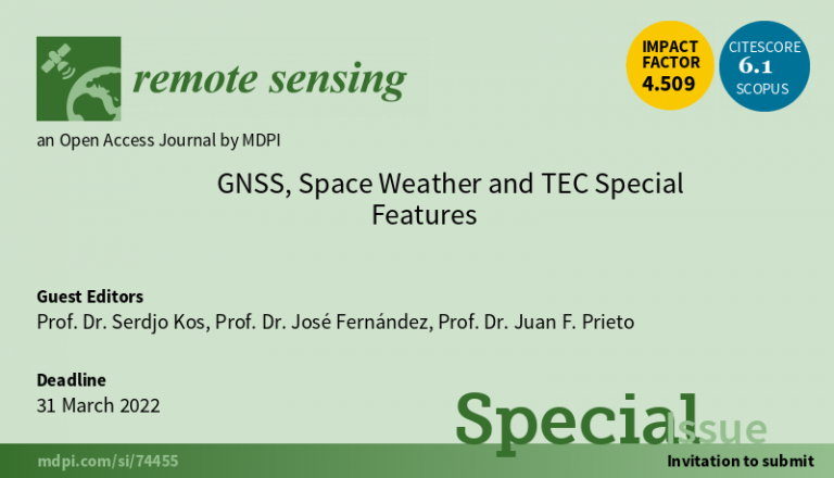 "prof. dr. sc. Serđo Kos – Special Issue ""GNSS, Space Weather and TEC Special Features"""