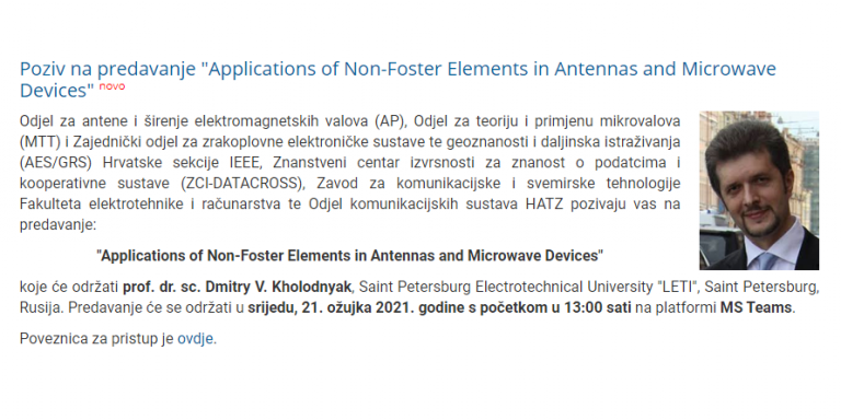 "Poziv na predavanje ""Applications of Non-Foster Elements in Antennas and Microwave Devices"" u suorganizaciji Odjela komunikacijskih sustava HATZ-a"