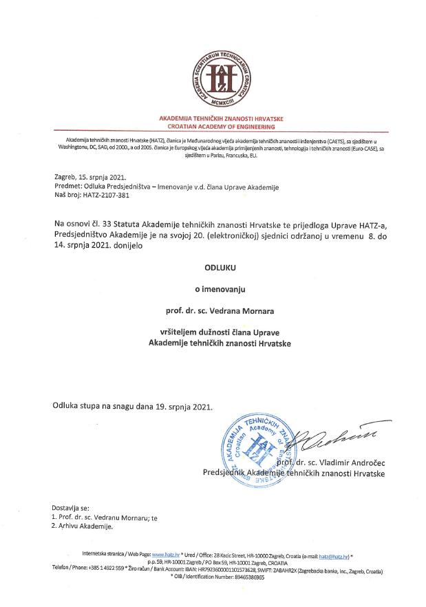 Prof. dr. sc. Vedran Mornar – vršitelj dužnosti člana Uprave Akademije