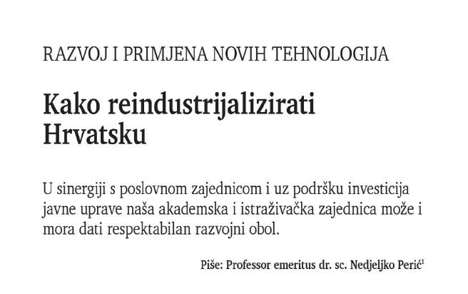 """""""Kako reindustrijalizirati Hrvatsku"""" – piše prof. emer. dr. sc. Nedjeljko Perić"""