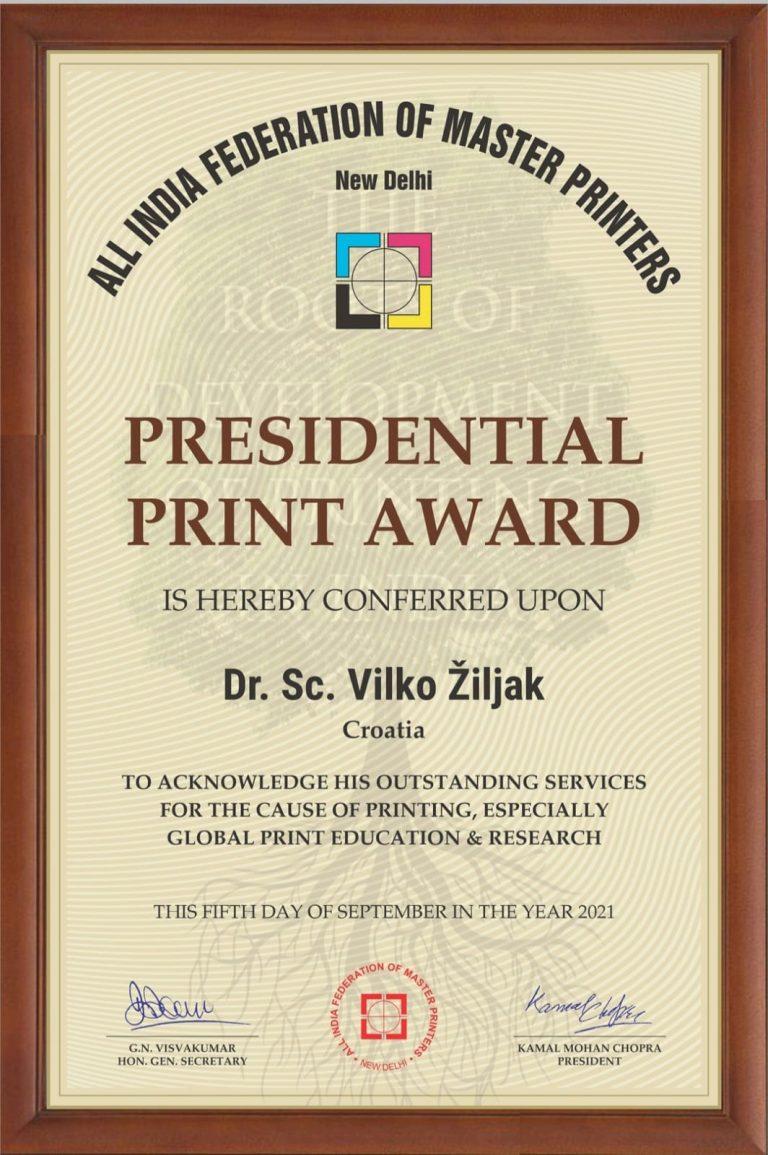 Prof. emer. dr. sc. Vilko Žiljak  izabran za najboljeg međunarodnog profesora u grafičkoj struci